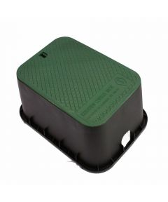 12 in. x 17 in. x 12 in. Deep Rectangle Valve Box with Black Body & Green Lid