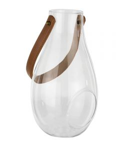 Syndicate 9.75 in. Terrarium Glass Egged-Shape Lantern with Leather Handle