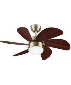 Westinghouse 30 in. Turbo Swirl 6 Blade Ceiling Fan with Dimmable LED Light, Antique Brass