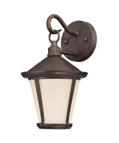 Westinghouse Darcy 1-Light LED Outdoor Wall Lantern  with Amber Frosted Glass, Victorian Bronze