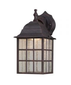 Westinghouse 1-Light LED Outdoor Wall Lantern with Seeded Glass Panels, Weathered Patina (ENERGY STAR)