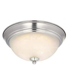 Westinghouse 11-Inch Dimmable LED Indoor Flush Mount Ceiling Fixture with White Alabaster Glass, Brushed Nickel (ENERGY STAR)