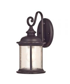 Westinghouse New Haven 1-Light Outdoor Wall Lantern with Steel & Clear Seeded Glass, Oil Rubbed Bronze