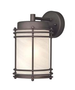 Westinghouse Parksville 1-Light Outdoor Wall Lantern with  Steel with White Alabaster Glass, Oil Rubbed Bronze