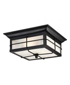 Westinghouse Orwell 2-Light Outdoor Flush Fixture with Steel & Frosted Seeded Glass, Textured Black