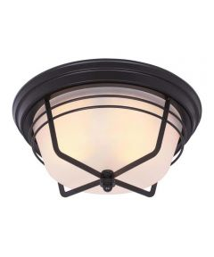 Westinghouse Bonneville 2-Light Outdoor Flush Fixture with Steel & Frosted Glass, Weathered Bronze