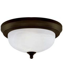 Westinghouse 2-Light Indoor Flush-Mount Ceiling Fixture with Frosted White Alabaster Glass, Oil Rubbed Bronze