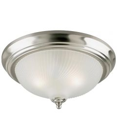 Westinghouse 2-Light Indoor Flush-Mount Ceiling Fixture with Frosted Swirl Glass, Brushed Nickel