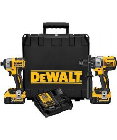DEWALT 20V MAX* XR Brushless Cordless Hammer Drill & Impact Driver Kit with 5.0Ah Battery & Charger