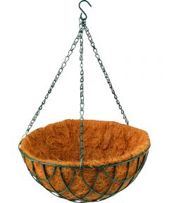 12 in. Hanging Planter with Coconut Fiber Liner, Matte Green