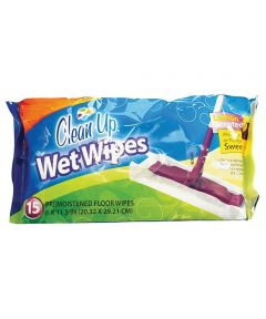 Clean Up Wet Floor Wipes, 15-Pack