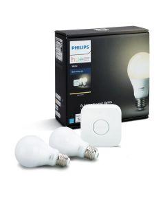 Philips Hue A19 60W Equivalent Wireless Wifi Smart Bulb Starter Kit (Hub & 2 Bulbs)