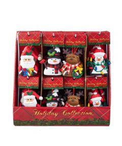 3.5 in. Claydough Christmas Ornaments, Assorted Santa / Snowman / Reindeer / Penguin (Sold Individually)
