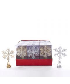 7 in. Mini Snowflake Christmas Tree Toppers, Assorted Gold or Silver (Sold Individually)