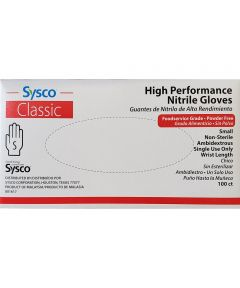 Sysco High Performance Small Disposable Nitrile Gloves, 100 Count