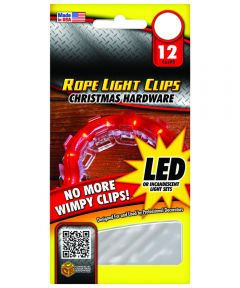 Clear Plastic Christmas Rope Light Clips, 12 Pack