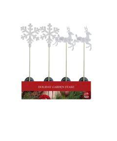 Solar Powered Fiber Optic Christmas Snowflake or Reindeer Yard Stake, White