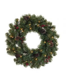 24 in. Prelit Artificial North Pine Christmas Wreath with Clear Incandesent Bulbs
