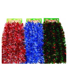 12 ft. Mega Wide Christmas Tinsel Garland, Assorted Multicolors