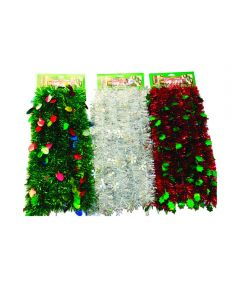 12 ft. Die-Cut Christmas Tinsel Garland, Assorted Design & Multicolors