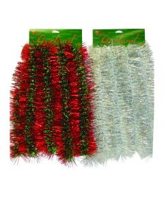 10 ft. Royal Sapphire Christmas Tinsel Garland, Assorted Multicolors