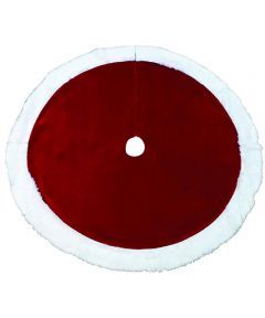 48 in. Diameter Deluxe Christmas Tree Skirt, Red with White Plush Trim