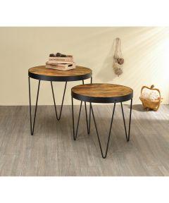 2-Piece Round Nesting Accent Table Set, Honey Cherry & Black