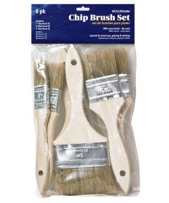 RollerLite 6-Piece 100% Natural Bristle Chip Brush Set