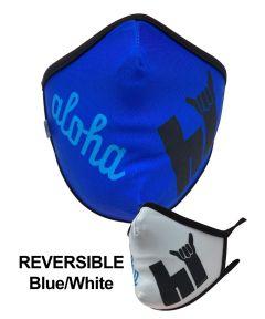 Up & Riding Kids Reusable Fabric Face Mask, Reversible Aloha HI Blue/White