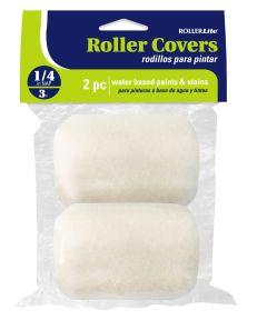 RollerLite  3 in. x 1/4 in. White Velvet Dralon Standard Paint Roller Covers, 2 Pack
