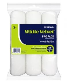 RollerLite 9 in. x 3/8 in. White Velvet Standard Roller Covers, 3 Count