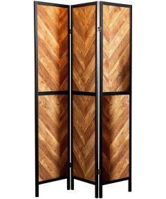 3 Panel Herringbone Shoji Privacy Screen, Rustic Tobacco & Black