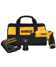 DEWALT 8V MAX* Cordless Gyroscopic Pistol Grip Electric Screwdriver Kit with Charger / 2 Batteries / Storage Bag