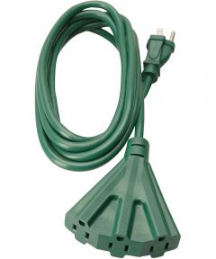 Woods 8 ft. 16/3 SJTW Outdoor Tri-Tap Extension Cord, Green