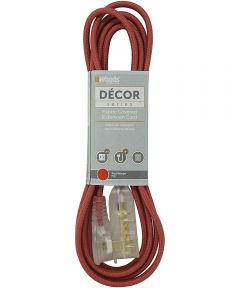 Woods 8 ft. 16/2 Indoor Fabric Cube Tap Extension Cord, Red