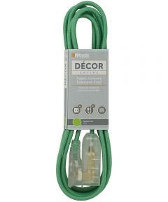 Woods 8 ft. 16/2 Indoor Fabric Cube Tap Extension Cord, Green