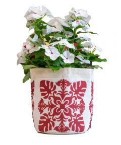 Red Quilt Fabric Plant Pouch