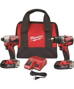 Milwaukee M18 Compact Brushless Cordless Combo Kit with 1/2 in. Drill Driver & 1/4 in. Hex Impact Driver