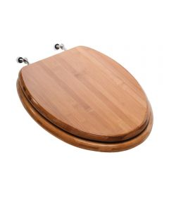 Jones Stephens Premium Decorative Elongated Wood Toilet Seat with Brushed Nickel Metal Hinge, Piano Finish Bamboo