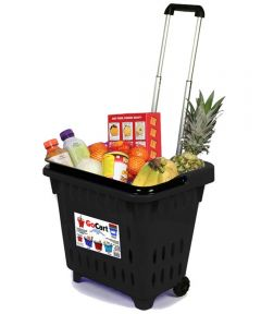 GoCart Rolling Shopping Basket, Black
