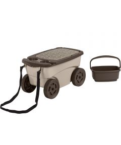 Suncast Garden Supply Scooter with Wheels / Seat / Knee Pad / Basket