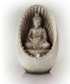 11 in. Tall Buddha Tabletop Water Fountain with LED Lights