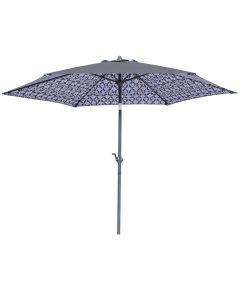 Seasonal Trends 9 ft. Crank Patio Umbrella, Double Print Black & White