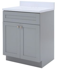 Foremost 24 in. x 18 in. Cason Bathroom Vanity with Cultured Marble Top, Cool Gray
