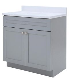 Foremost 30 in. x 18 in. Cason Bathroom Vanity with Cultured Marble Top, Cool Gray