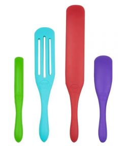 Mad Hungry 4-Piece Silicone Spurtle (Spoon / Spatula) Cooking Utensil Set
