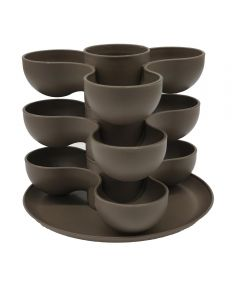 8 in. Pixie 3-Tier Stacked Succulent Planter, Taupe