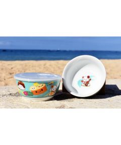 6 in. Microwavable Porcelain Bowl with Lid, Local Foods Design