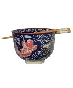 5-3/8 in. Porcelain Bowl with Wooden Chopsticks, Koi Design
