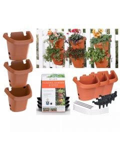 Bloem 3-Pack Hanging Plastic Garden Planter System, Terra Cotta Color